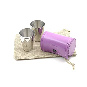 iSavage Shot Glasses with Light Purple Leather Case 1.2oz Each Set of 4 18/8 Stainless Steel 1pc Reusable Bag-YM207