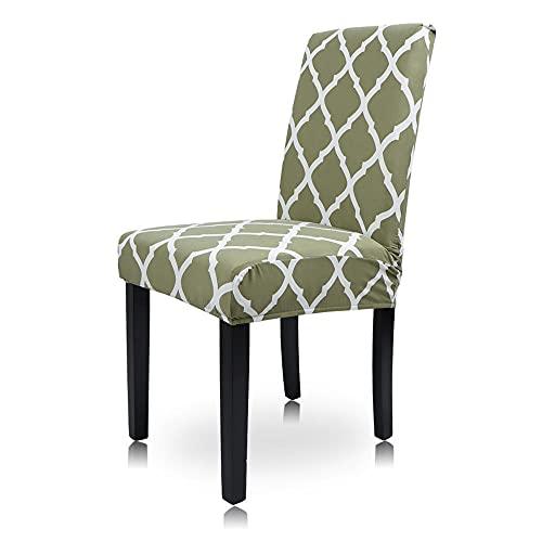 Funda para Silla Elásticas Todo incluidoverde de 6 Piezas, Fundas para sillas de Comedor extraíble y Lavable Utilizada en hoteles, familias