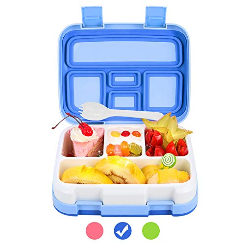 Bento Box for Kids Lunch Box BPA-Free DaCool Upgraded Toddler School Lunch Container with Spoon 5-Compartment Leak Proof Durable Meal Fruit Snack Packing for Picnic Outdoors Microwave Safe - Blue