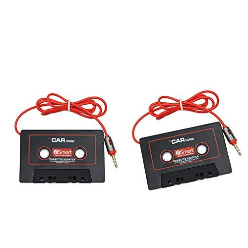 H HILABEE 2 Piezas De Audio para Automóvil Cassette Adaptador De Cinta De 3,5 Mm Jack AUX Converter para iPhone iPod CD, Negro