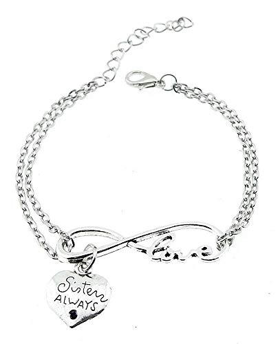 Infinity armband - hart hanger - vrienden - zussen en vrienden voor altijd - feest cadeau idee - vrouw - meisje - zilveren kleur - sieraden friends forever always sisters love