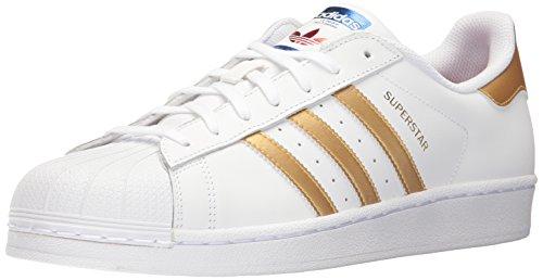 adidas Originals Unisex-Kinder Superstar J-B39402 Sneaker, Weiß Gold Metallic Blau, 38 2/3 EU