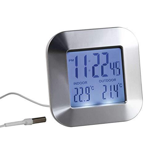 Thermometer für Innen und Außen Außenthermometer Digital Wecker mit Temperaturanzeige (Weckfunktion, Außensensor, Temperatur, Uhrzeit)