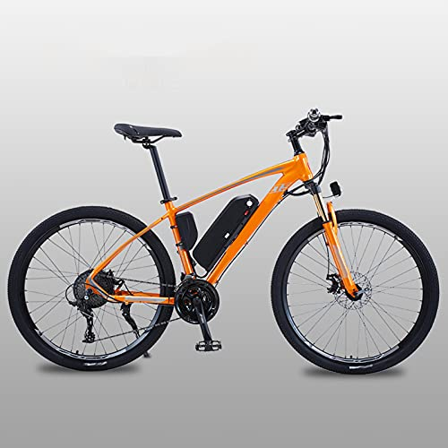 Bicicletas Eléctricas De 27.5 Pulgadas para Adultos Bicicleta De Montaña con Motor 500W, Batería Extraíble De 48V / 13AH, Engranajes De 27 Velocidades, Frenos De Doble Disco,Naranja,27.5 Inch