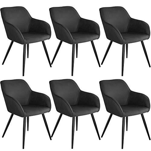 tectake 800871 6er Set Esszimmerstuhl mit Armlehnen, gepolsterte Stoff Sitzfläche, Schwarze Metallbeine, für Wohnzimmer, Esszimmer, Küche und Büro (Anthrazit)