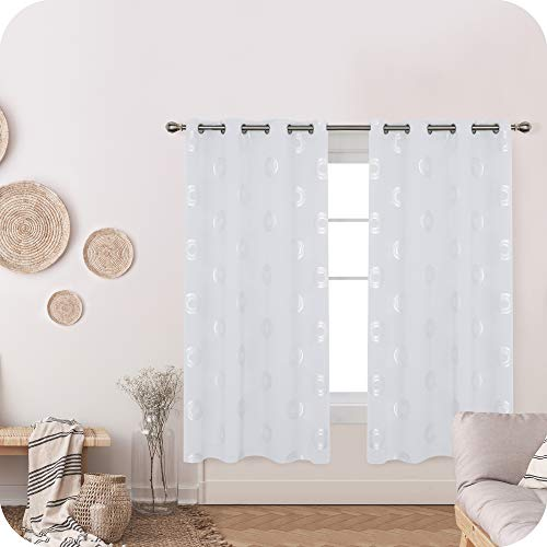 Amazon Brand – Umi Cortinas Salon Opaca de Dibujos Redondo con Ollaos 2 Piezas 168x183cm Gris Blanco