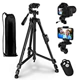 Phone Tripod, GPED 55' Extendable Camera Tripod with Phone Holder and Carry Bag, Lightweight Aluminum Travel Tripod Stand for Camera/iPhone/Android Phone, Max Load 10KG/22Lbs, 1/4' Mounting Screw