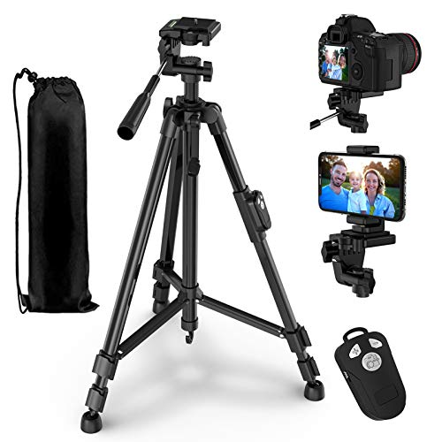 "Phone Tripod, GPED 55"" Extendable Camera Tripod with Phone Holder and Carry Bag, Lightweight Aluminum Travel Tripod Stand for Camera/iPhone/Android Phone, Max Load 10KG/22Lbs, 1/4"" Mounting Screw"