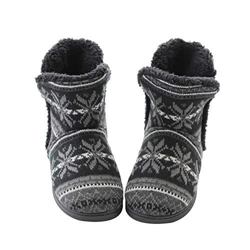 YJZQ Winter Hüttenstiefel Damen Herren Hüttenschuhe Plüsch gefüttert warm Hausschuhe Rutschfeste Sohle Kuschelige Pantoffeln Gemütliche Schuhe für Zuhause, Schwarz, 39/40 EU