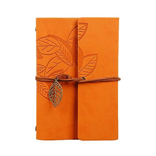 Vintage notitieboek leer - ringband retro reis - dagboek navulbaar A5/A6/A7 notitieboeken met blanco pagina's en vintage hanger reisdagboek A5 oranje