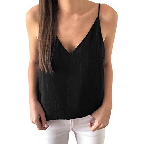 Topkal Top Sling V-Neck Solid Color Vertical Rayas Camisa Mujer Blusa Camisa de Mujer Blusa Camisa Moda Top Top Top Sling Top Top Top Top Top Top Top Top Top Top Top Negro  XL