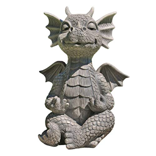 Yangliu Garden Whimsical Meditating Dragon Statue, MystiCalls Meditated Dragon Sclpture,Resin Collecting Statue Ornament for Garden Outdoor Yard Decoration Welcome Guest Greeter Decor Figurine 16cm