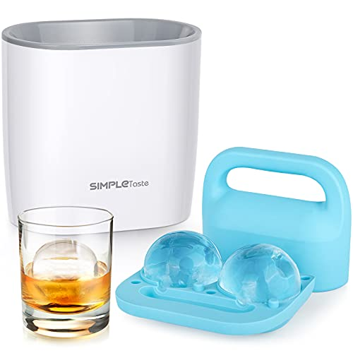 SIMPLETASTE Kristallklare Eiswürfelform, BPA-freies Silikon, große Kugel, Eiswürfelform für Whiskey, Cocktails und Getränke