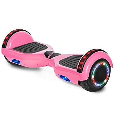 """cho 6.5"""" inch Hoverboard Electric Smart Self Balancing Scooter with Built-in Wireless Speaker LED Wheels and Side Lights Safety Certified (STD-Pink)"""