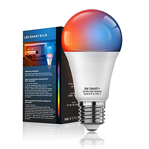 Smart Light Bulbs RGBCW Color Changing, No Hub Required, MagicLight A19 9W 800 LM Bluetooth & WiFi 2in1 Tunable White Dimmable LED Smart Bulb, Works with Alexa Google Assistant