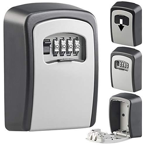 Xcase Schlüsselsafe: Mini-Schlüssel-Safe zur Wandmontage, 1-mm-Aluminium, Zahlenschloss (Keysafe)