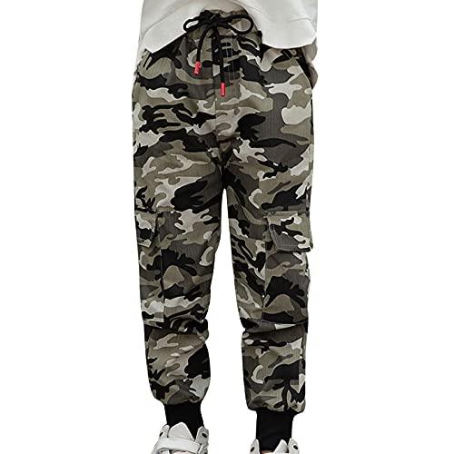 dPois Pantalones Cargo Niño Camuflaje Moda Callejera Urbana Pantalón Deportivo Hip Hop para Adolescentes Jóvenes y Niños Pantalones Sueltos Blanco 11-12 años