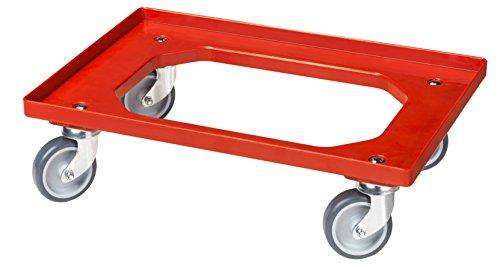 Transportroller für Kisten 60 x 40 cm mit 4 Lenkrollen in rot