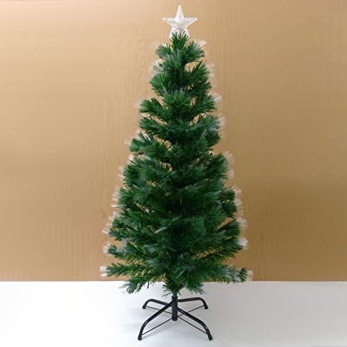 Starlet24® Weihnachtsbaum mit LED Glasfaser Künstlicher Tannenbaum Christbaum Grün 90cm