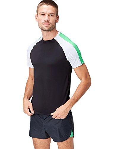 Activewear Camiseta Bicolor para Hombre, Negro (Black/White/Apple Green), X-Large