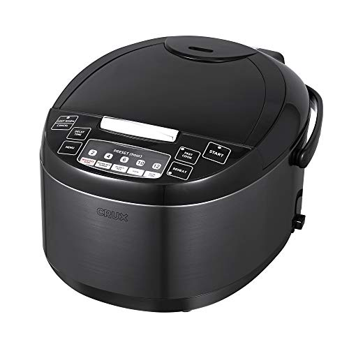 CRUX 12 Cup Non-Induction Rice Cooker, Multi-Cooker, Food Steamer, Slow Cooker, Stewpot, Easy One-Pot Healthy Meals, Dishwater Safe, Non-Stick Bowl, Black