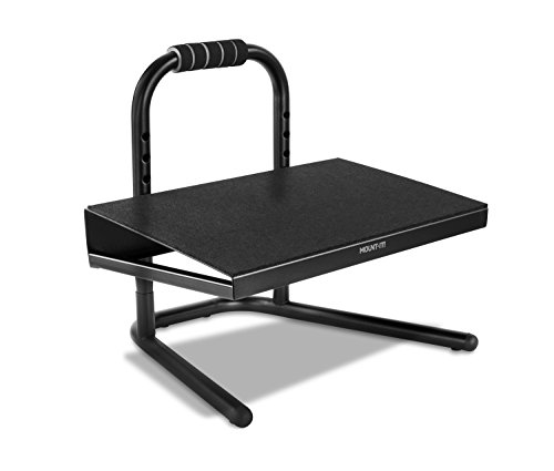 Mount-It! Height Adjustable Foot Rest for Standing and Sitting, Freestanding Under The Desk Footrest with Handle and Six Height Settings, Anti-Slip Padded Surface,Black