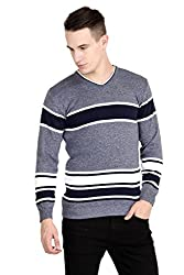 Neuvin Mens Woollen Pullover Light Grey- Dark Blue Striped Cardigan