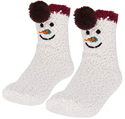 Kerstsokken - sneeuwpop - met kerstdoos - wit - één maat - voor kinderen - jongen - meisje - unisex - cadeau-idee