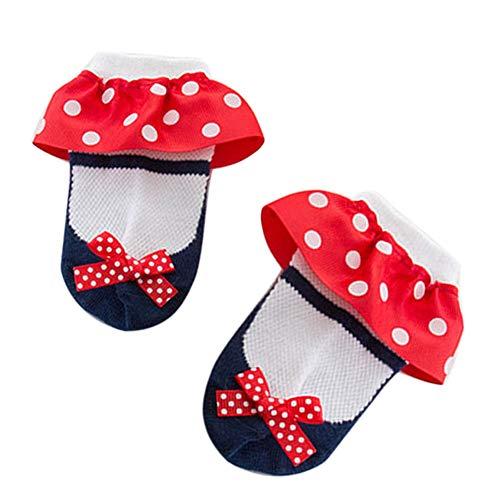 XdiseD9Xsmao Elastische sokken, modieus, met ruches en strepenpatroon, zacht, duurzaam, antislip, zweetabsorberend, prinsessensokken van katoen voor baby's en peuters