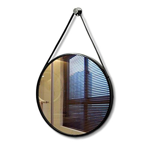 Miroir suspendu au mur, rond miroir de salle de bain miroir en fer forgé entrée miroir chambre salle de bain miroir évier vanité miroir (Color : Black, Size : 40cm/15.7inch)