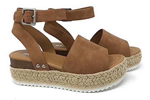 SODA JDTopic Women's Open Toe Ankle Strap Espadrille Sandal (9 M US, Tan JD)