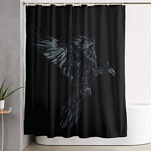 VINISATH Cortinas de Ducha,Pájaro Grunge Volando Cuervo Página Fauna Negra Cuervo Detalle Oscuro Dibujo Diseño Vintage,Cortina de baño Decorativa para baño,bañera 180 x 180 cm