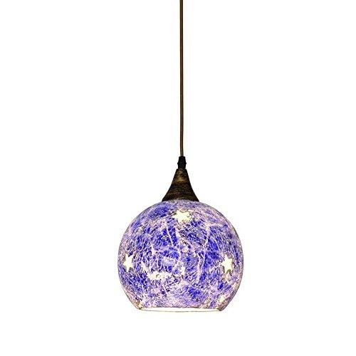 Lampe suspendue en mosaïques d'étoiles de la Méditerranée - Pour restaurant, bar, café, couloir, balcon - 1 tête bleue.