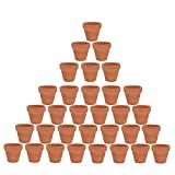 32pcs Small Mini Clay Pots 2'' Terracotta Pots Clay Ceramic Pottery Planter, Cactus Flower Terra Cotta Pots, Succulent Nursery Pots, with Drainage Hole, for Indoor/Outdoor Plants, Crafts