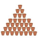 32pcs Clay Pots, 2'' Terracotta Pot Clay Ceramic Pottery Planter, Cactus Flower Terra Cotta Pots, Succulent Nursery Pots, with Drainage Hole, for Indoor/Outdoor Plants, Crafts
