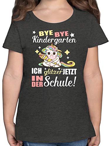 Einschulung und Schulanfang - Ich Glitzer jetzt in der Schule Einhorn mit Schultüte - 152 (12/13 Jahre) - Anthrazit Meliert - Kinder Shirts Glitzer - F131K - Mädchen Kinder T-Shirt