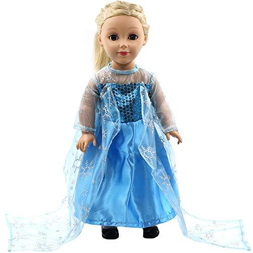 WENTS Puppenkleid EIS-Prinzessin Puppenkleidung Kleidung Outfits Kleider für 18 Zoll American Doll
