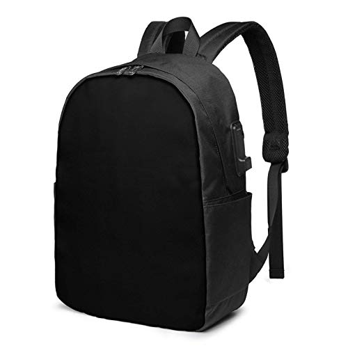 Lawenp Pure Black Solid Color Laptop Backpack with USB Charging Port, Business Bag, Bookbag | Fits Most 17 Inch Laptops and Tablets