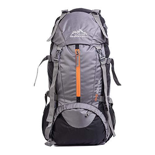 Endeavour Snow 50 L Mochila ligera para camping, senderismo, viajes, con cubierta de lluvia (gris)