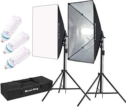 MOUNTDOG 3X135W Kit de Iluminación para Softbox de Fotografía 5500K Bombilla,...