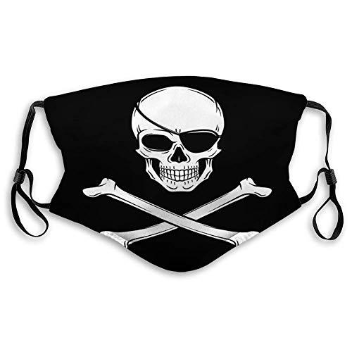 Colaecy Mundschutz Scrafs für Staubschutz Jolly Roger Mit Augenklappe Logo Vorlage Evil Skull Dark Design Piraten Insignia Konzept