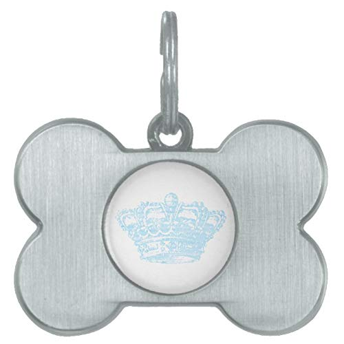 Stainless Steel Pet ID Tags, Blue Crown Pet ID Tag, Dog Tags, Cat Tags, Bone Shaped ID Tag for Dogs and Cat