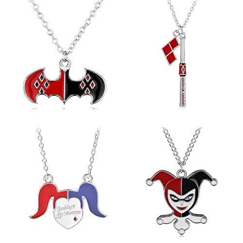 Imcneal Juego de 4 collares de Escuadrones Suicidas esmaltados en plata, payaso, bate de béisbol, Joker, Harley Quinn Cosplay collares colgantes