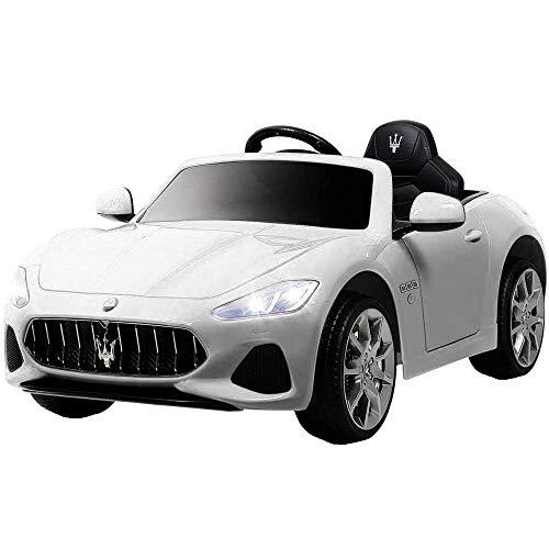 BAKAJI Auto Elettrica Bambini Macchina Maserati Grancabrio 2020 Motore 12V Fari LED Funzionanti Luci Suoni Lettore MP3 AUX Telecomando Controllo a Distanza Dimensione 122 x 72 x 50 cm (Bianco)