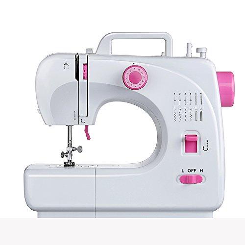 ele ELEOPTION Máquina de coser, mini máquina de reparación multifunción portátil, máquina de coser de mano, 16 patrones de puntadas integrados, doble hilo, 2 velocidades con pedal de pie