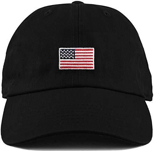Dad Hat Unconstructed Baseball Cap: American Flag Black