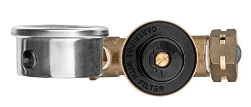 Renator M11-0660R Water Pressure Regulator Valve. Brass Lead-free Adjustable Water Pressure Reducer with Gauge for RV Camper, and Inlet Screened Filter