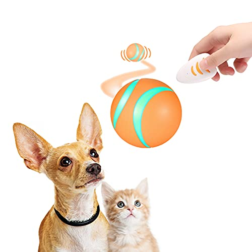 Updated Pet Toy Ball for Dogs&Cats, Dog Smart Ball, Remote Control Busy Ball, Magic Automatic Interactive Dog Toys, Flash RGB Led Light Wicked Ball Vibrating for Active Kitty&Puppy to Chase (Orange)