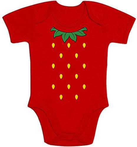 Shirtgeil Süße Kostüm Idee für Baby kleine Erdbeere Baby Body Kurzarm-Body 74/80 (6-12M) Rot