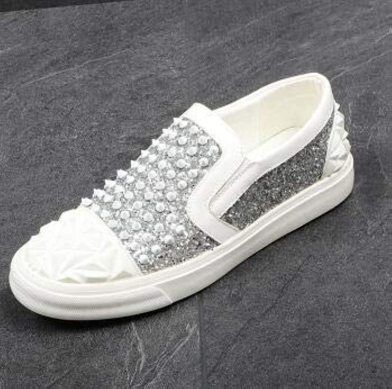 LOVDRAM Män läderskor Rivets Loafers Party bröllop bröllop bröllop skor Europe Style Sekins Slippers Driver Paty S Flat Dress skor  köpa rabatter